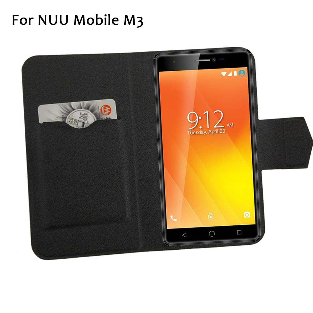 5 Colors Hot! NUU Mobile M3 Case Phone Leather Cover,Factory Price Protective Full Flip Stand Leather Phone Shell Cases