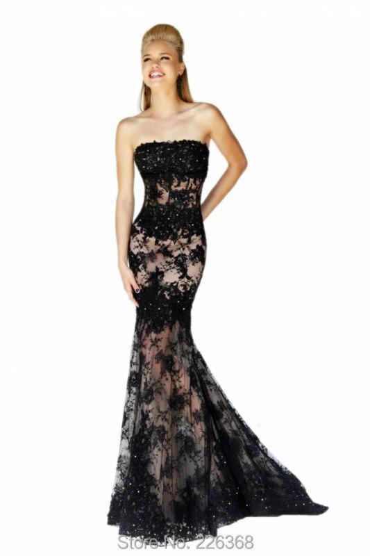 Aliexpress.com : Buy Free Shipping Strapless Black Lace Mermaid ...