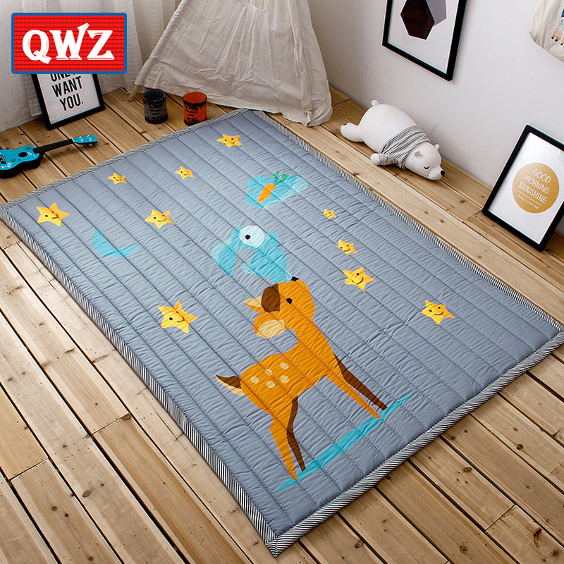 цена на QWZ New Baby Play Mat Children Folding Game Carpet Kids Crawling Mats Anti-skid Tatami Rugs Cotton Blanket For Children Gifts