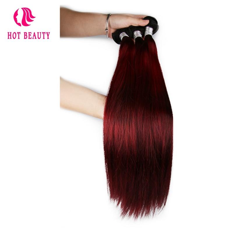 Hot Beauty Hair Wain Color Peruvian Straight Hair Bundles 10-26 inch - Rambut manusia (untuk hitam) - Foto 3