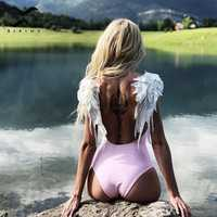 Bikinx Embroidery wing female swimsuit one piece bikini 2019 new Family matching bathing suit Sexy swimwear women kids bikini XL