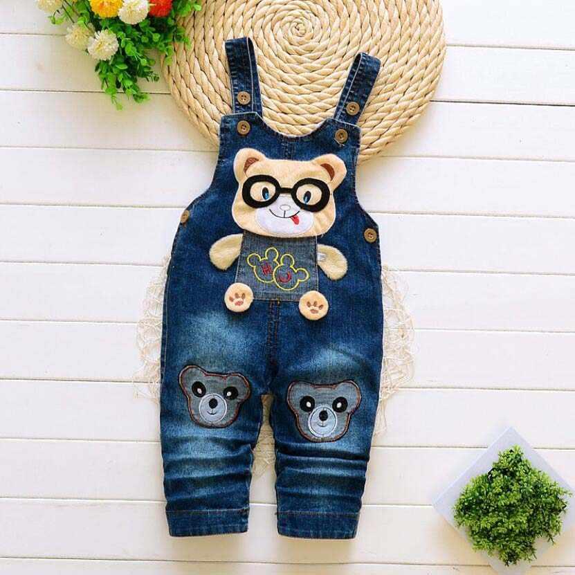 Baby kleding pasgeboren baby broek meisjes katoen leuke jeans little kids bretels denim jeans 0-4T baby meisjes cartoon broek