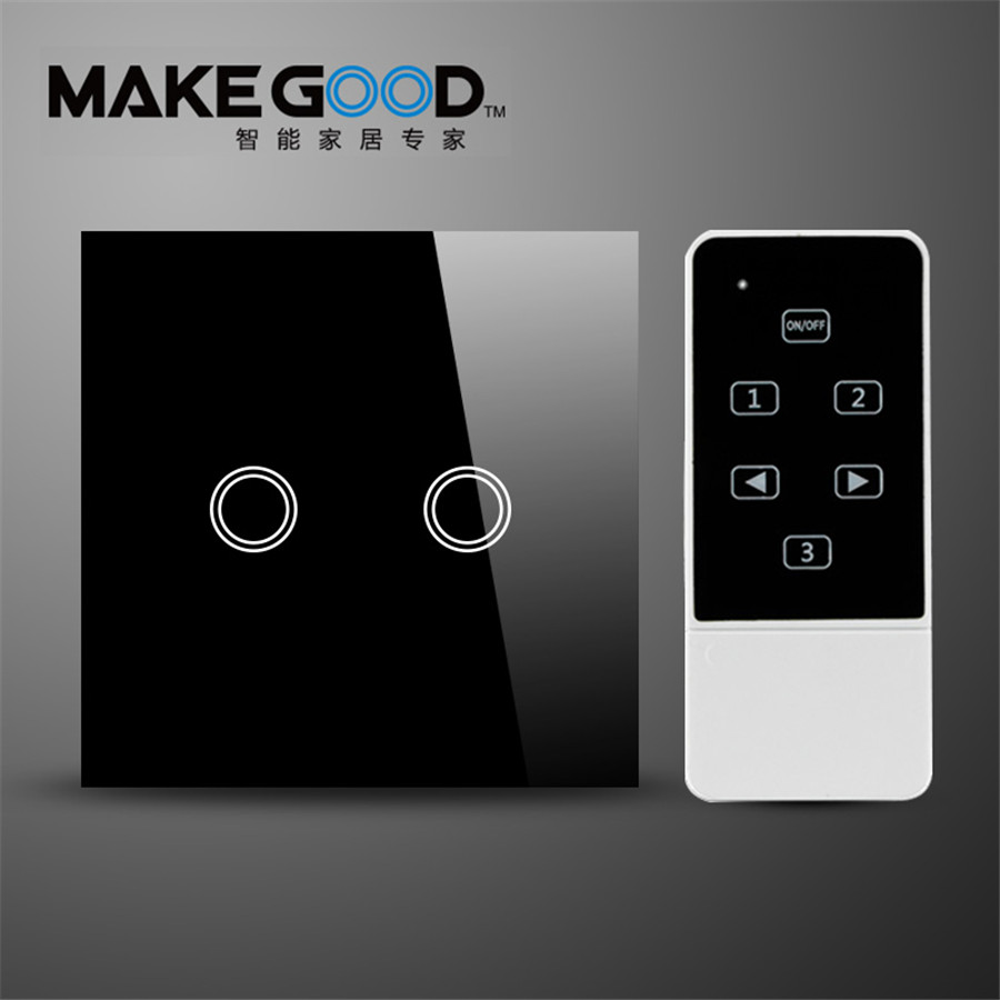 EU Type 2 Gang 2 Way Remote Control Switch Crystal Glass ON/OFF Touch Electrical Wall light Switch Compatible Broadlink rmpro smart home us black 1 gang touch switch screen wireless remote control wall light touch switch control with crystal glass panel