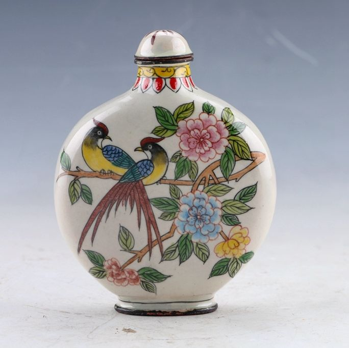 China Cloisonne Hand painted Bird & Flower Snuff Bottles w Qianlong Mark