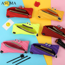 Cute Novelty Candy Colors Zipper Monsters Pencil Bag Girl Boys School Pen Korean Canvas Men And Women Creative Stationery