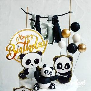 Image 4 - Adornos para pastel de Panda Ins, decoración de hoja de tortuga de bambú, feliz cumpleaños para niños, suministros de fiesta para niños y niñas, regalos bonitos para hornear