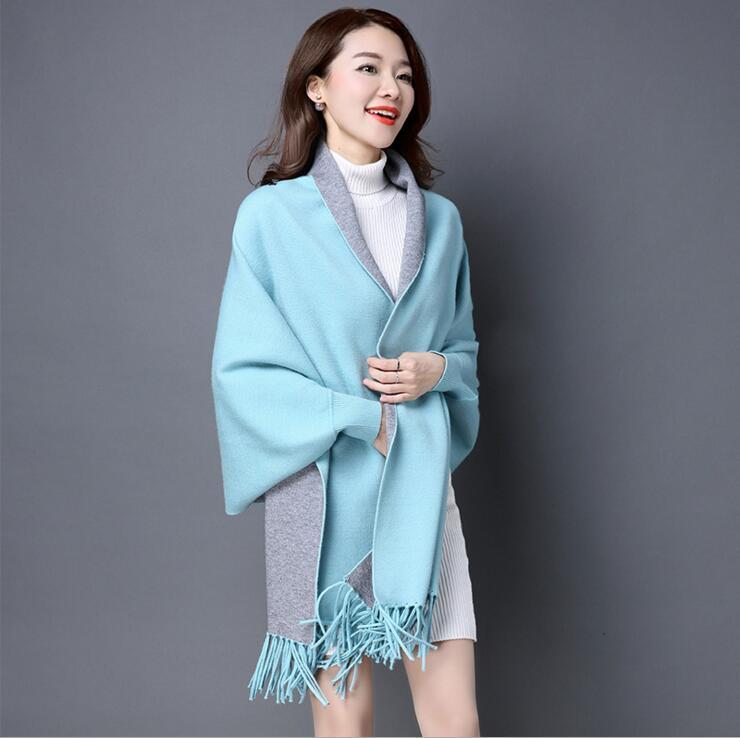 Женские свитера для зимы, Женская куртка с длинным рукавом, тонкая куртка, Длинные Топы - Цвет: Небесно-голубой