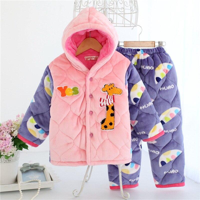 Детские пижамные комплекты Комплекты одежды утолщаются фланелевые пижамы коралловый флисовое ночное белье зимние стеганые фланелевые пиж...