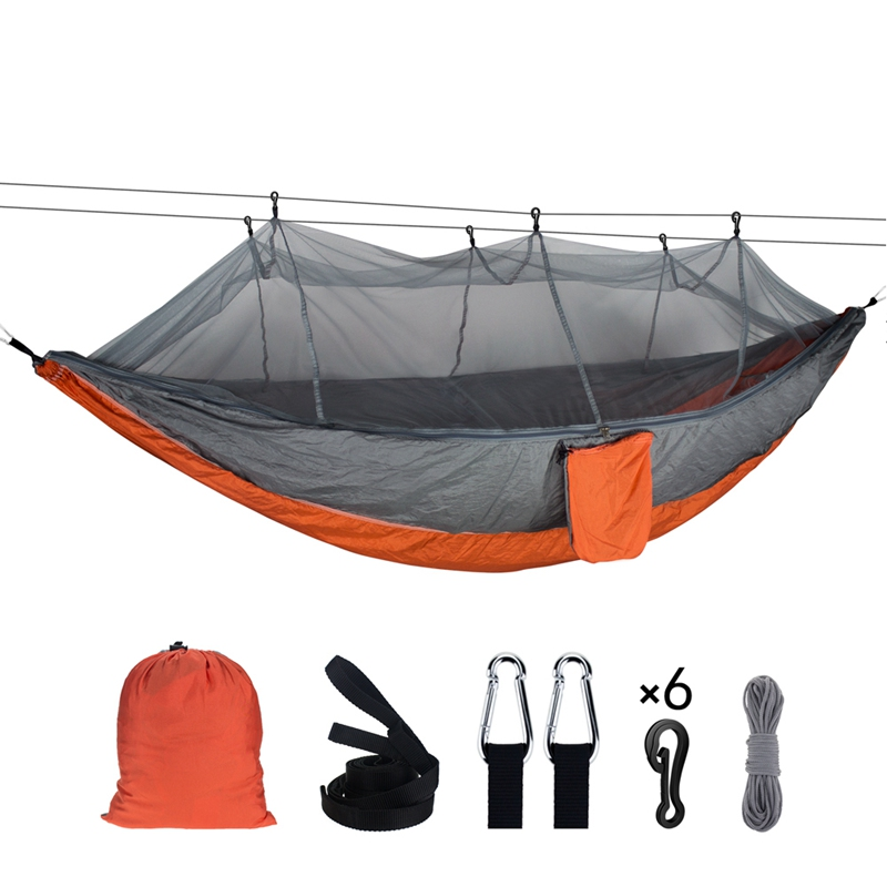 Outdoor Portable Hammock With Mosquito Net Parachute Fabric Tent Backpacking Travel Camping Survival Hunting Sleeping Bed