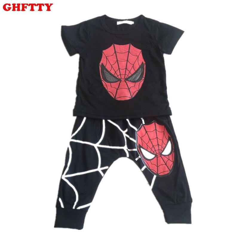 2017 new summer childrens clothing suits boy cartoon spider man T-shirt + Haren pants suit sports boys clothes set tracksuit