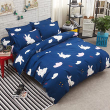 Blue Rabbit Comforter Duvet Cover Bedding Set Kids Bed Linen Single Double Twin Queen King Full Size Cotton Bedlinens 24(China)