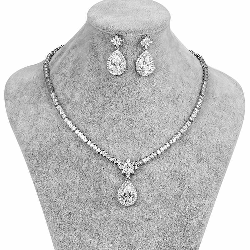 WEIMANJINGDIAN New Arrival Large Pear Drop Cubic Zirconia Necklace & Earring Wedding Jewelry Set for Bride or Bridesmaid
