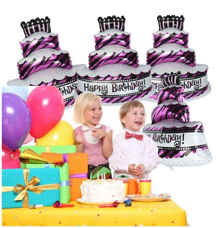 1pcs 100 X 69cm 생일 축하 케이크 호일 풍선 어린이 생일 장식 풍선 생일 축하 장식 용품