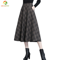 Europe And America Women Fashion Autumn Winter High Waist Big Bottom A Line Elegant Long Wool