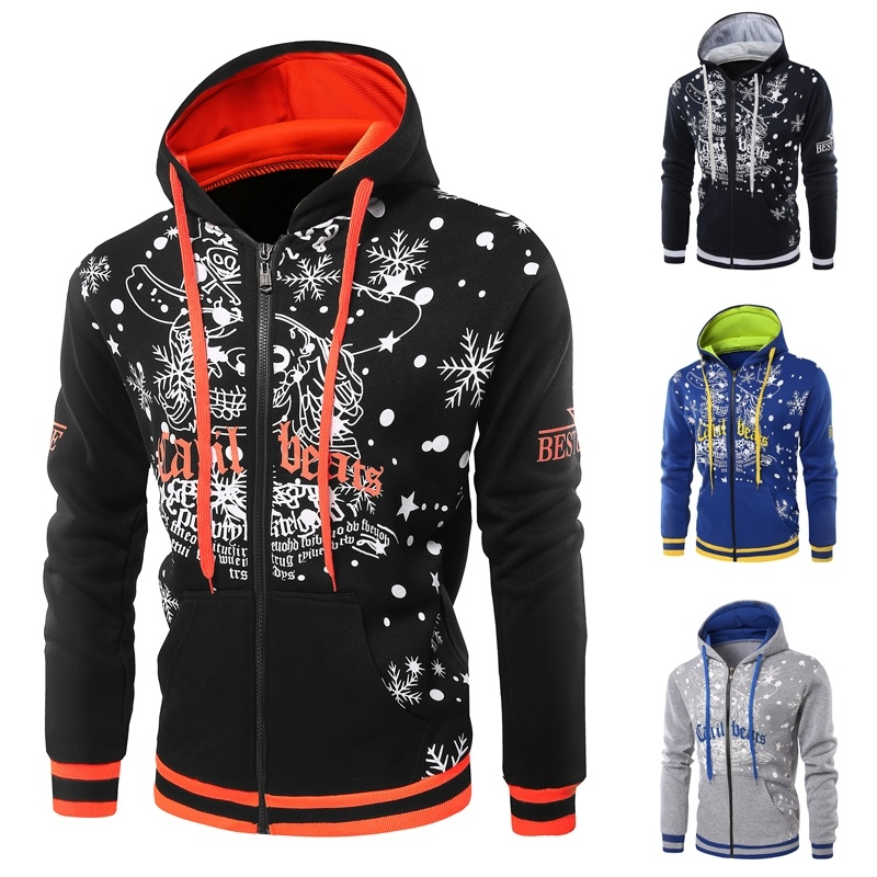 Autumn Winter Fleece Thicken Heat Santa Claus Printed Zip Hoodie Sweatshirts Males Cardigan Hoodie Christmas Clothes Hoodies & Sweatshirts, Low cost Hoodies & Sweatshirts, Autumn Winter Fleece Thicken Heat...