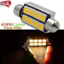2pcs Festoon led bulbs c5w c10w 41mm Car Reading Dome Lights 8SMD 5050 CANBUS License Plate Light white warm White dc12v