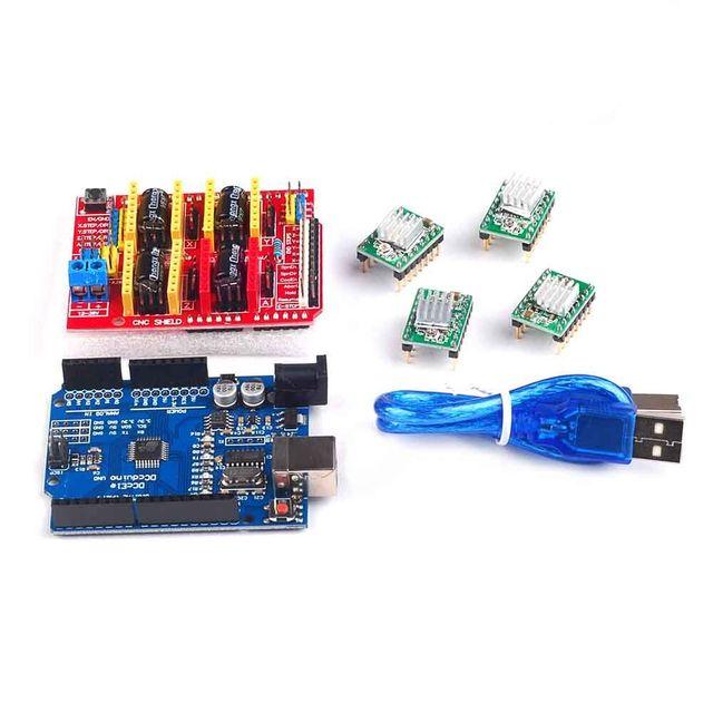 Frete grátis! Impressora 3D máquina de gravura do cnc escudo v3 + 4 pcs A4988 motorista board + placa de expansão UNO R3 com cabo USB