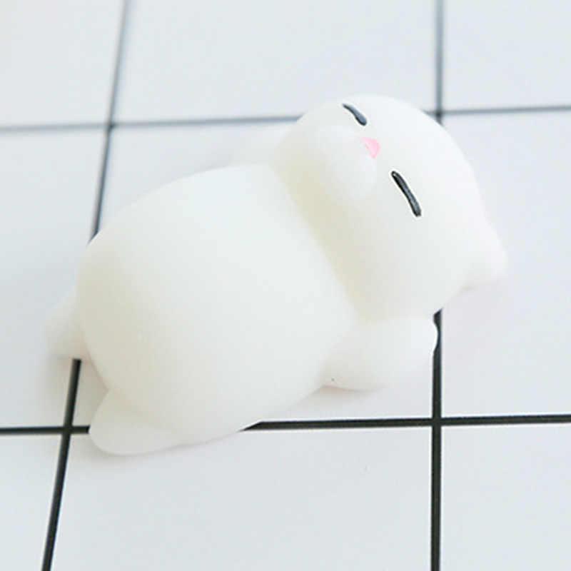 HOT Mini Mochi leniwy kotek telefon akcesoria z paskami dla dzieci słodkie zwierzaki gniotki Anti-stress miękkie wycisnąć Gags zabawa żart P15