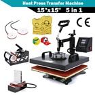 "CHENJ 15""x15"" 5 IN 1 Combo T-Shirt Heat Press Transfer Machine Sublimation Swing Away Afor T-Shirt Mug Hat Print"