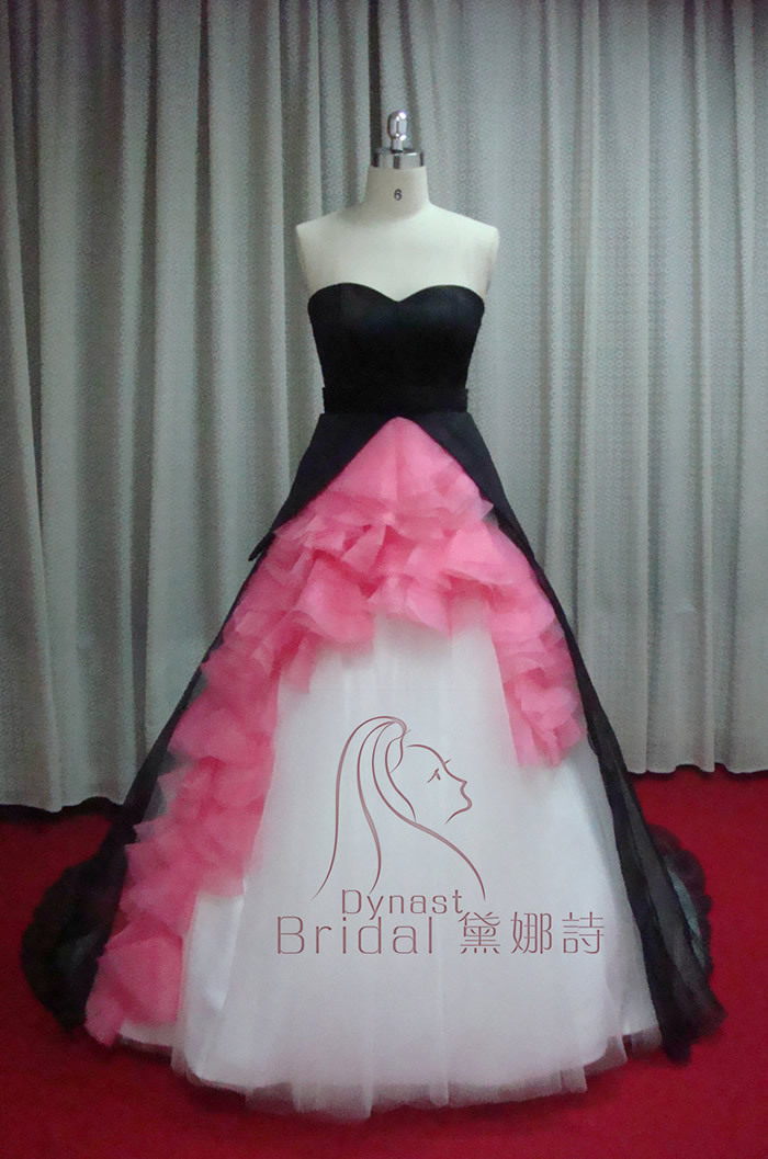 Taffeta tulle organza royal train ruched hot pink black for Black and pink wedding dress