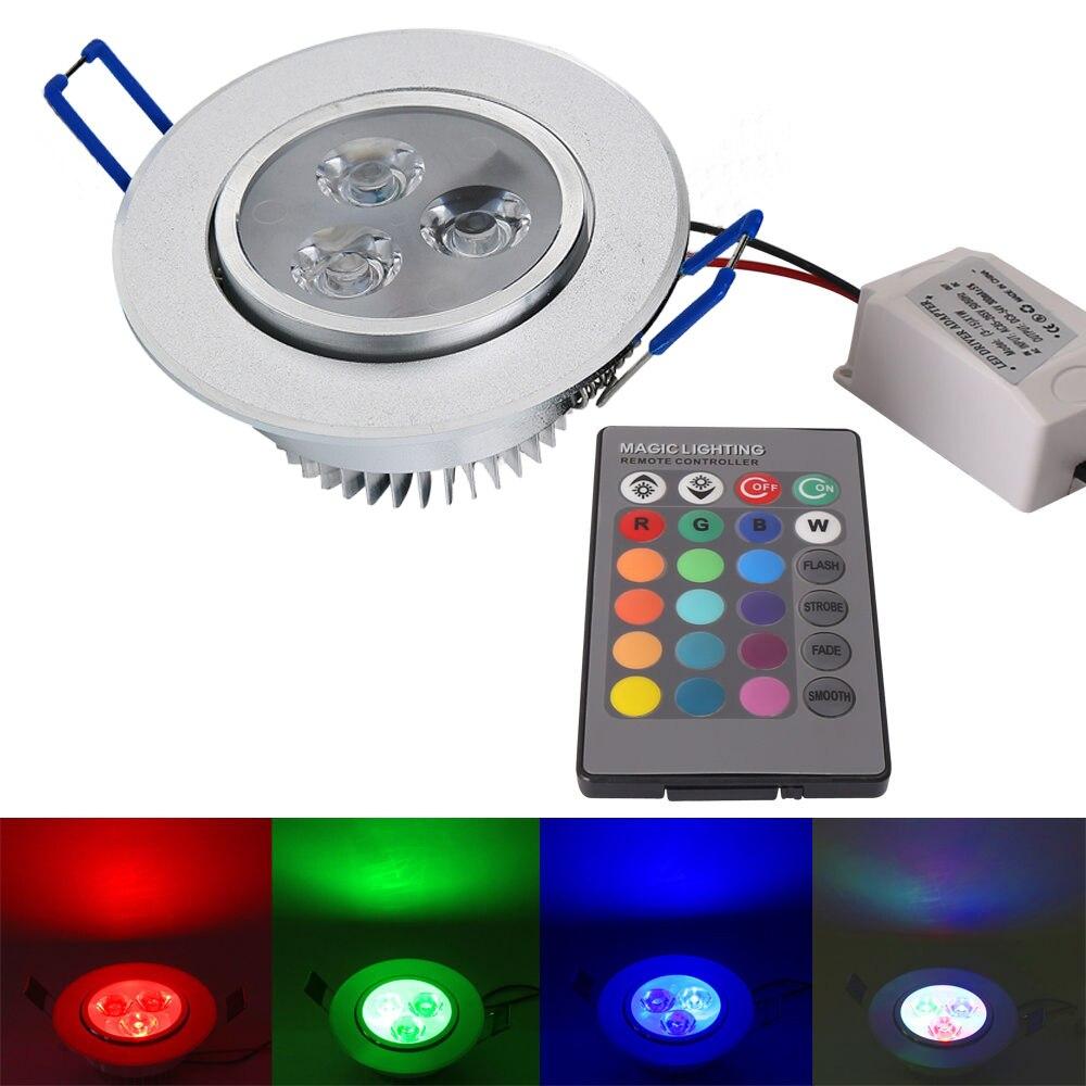 3 Вт RGB красочные downlight затемнения встраиваемые потолочные Светильники встраиваемые шкаф пятно света + ИК-пульт дистанционного управления