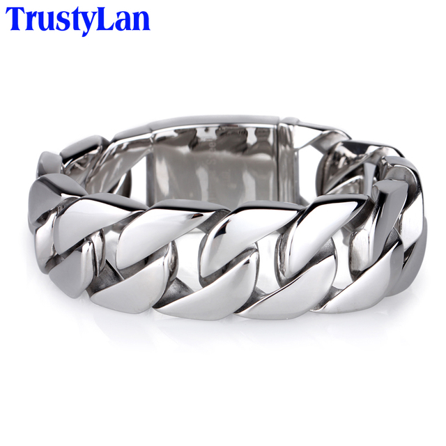 Trustylan Shiny Glossy 316l Stainless Steel Mens Bracelets 2018 20mm Wide Chain Jewellery Accessory Man
