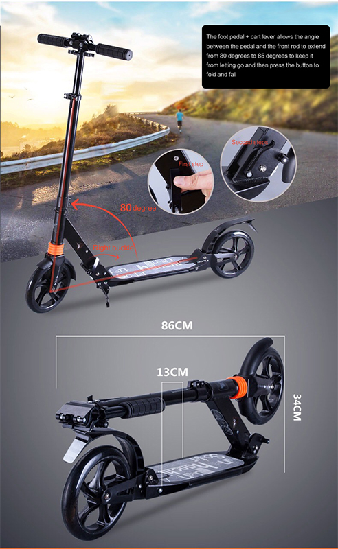 adult children kick scooter foldable PU 2wheels bodybuilding all aluminum shock absorption urban campus transportation in Kick Scooters Foot Scooters from Sports Entertainment