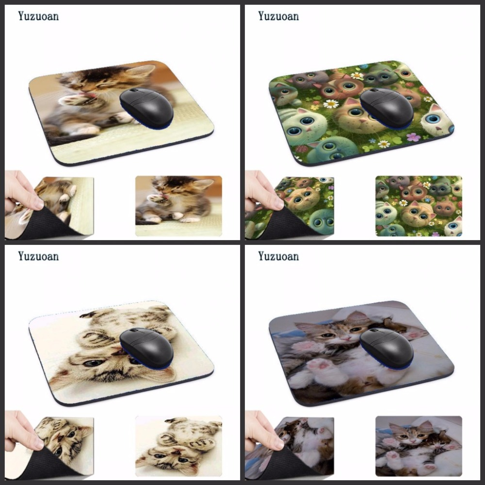 Yuzuoan Cute Cat Picture Anti-Slip Laptop PC Mice Pad Mat Mouse pads For Optical Laser M ...