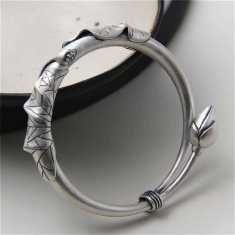 JINSE Top Selling Flower Lotus Leaf Bud Love Bracelet S990 Silver Cool Punk Flower Bud Bracelet Bangle 10mm 38G TYC092 elsker 38g