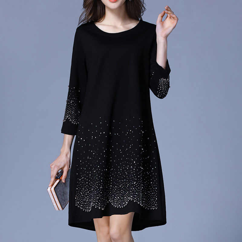 Plus Size Black Diamonds 3 4 Sleeve Knitted Dress Women Elegant Casaul  Street Office Party 0619172891be