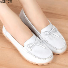 New Arrival Women Flats Shoes loafers Ladies Slip on 7 color Genuine Leather Driving V511