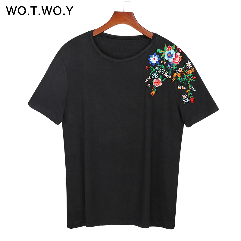 2017 Women Embroidery Floral Tshirt Euro Style Vintage Floral Tees Stretch Casual Basic Slim Tops