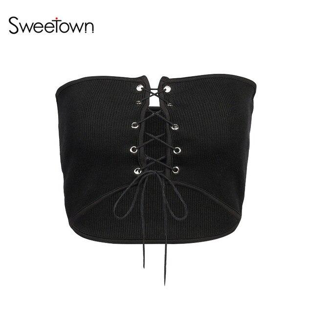 Sweetown крест-накрест Кружево лук майка Sexy выдалбливают черный Бретели для нижнего белья Бюстье Растениеводство Топ Для женщин Повседневное лето 2018 Топ