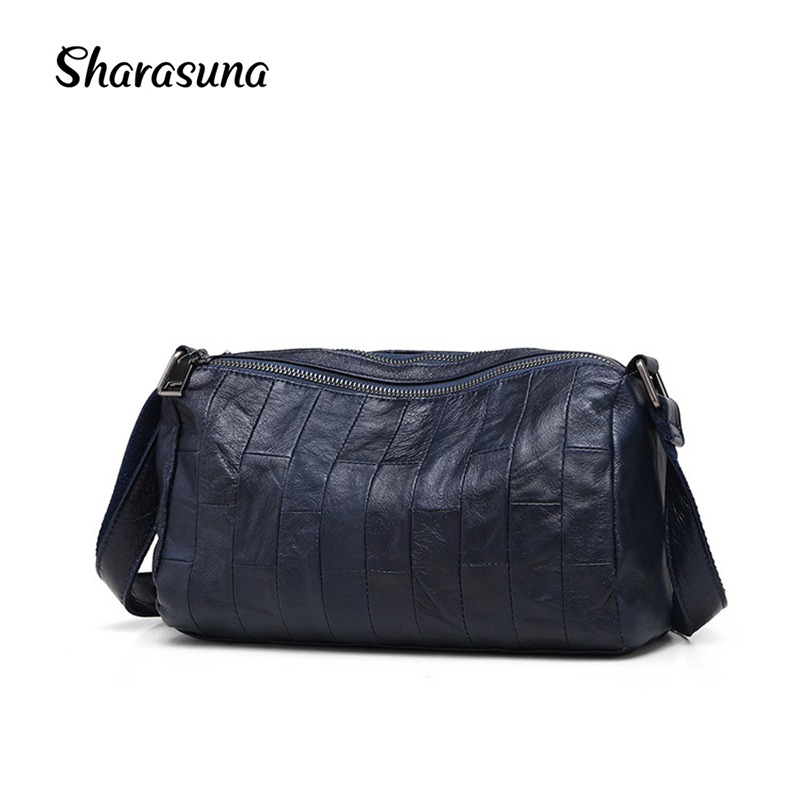 Sharasuna New Fashion 100% Genuine Leather Handbag Women Messenger Bag Vintage Design Pillow Bags Ladies Crossbody Shoulder Bags цены онлайн