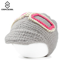 [COSPLACOOL] NEW fashion women's lovely hat warm thick line head cap autumn and winter patch glasses knitted cap