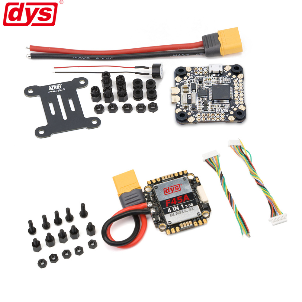 DYS Aria F45A 4in1 Blheli_32 3~5S 45A Brushless ESC & F4 PRO V2 Betaflight Flight Control with 5V/3A 9V/1.2A BECDYS Aria F45A 4in1 Blheli_32 3~5S 45A Brushless ESC & F4 PRO V2 Betaflight Flight Control with 5V/3A 9V/1.2A BEC