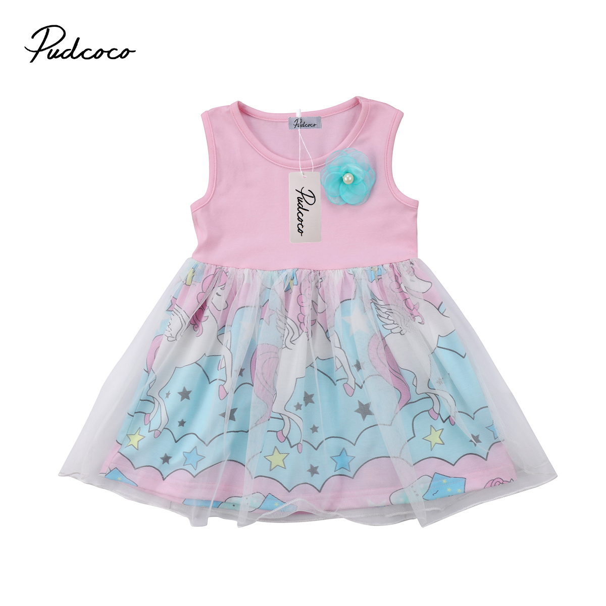 Kid Baby Girl Floral Unicorn Pageant Party Tulle Tutu Dress Summer Sleeveless Cotton Dress Vestidos Sundress Clothes