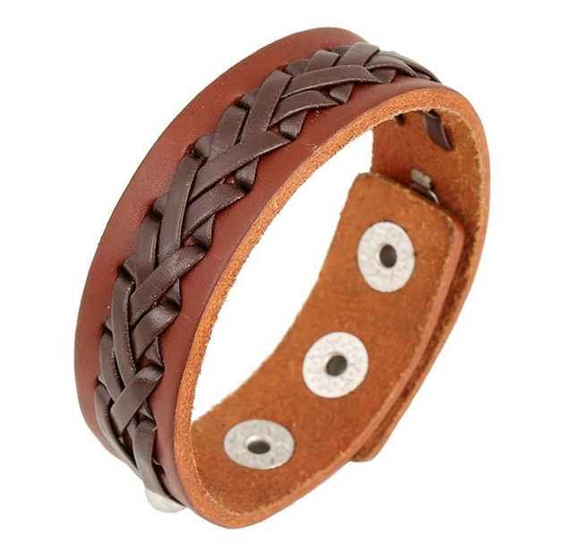 Cowhide Bracelet Men Women Plain Leather Bracelets Bangles Brown Cool Simple Band Handmade Jewelry Snap Cuff