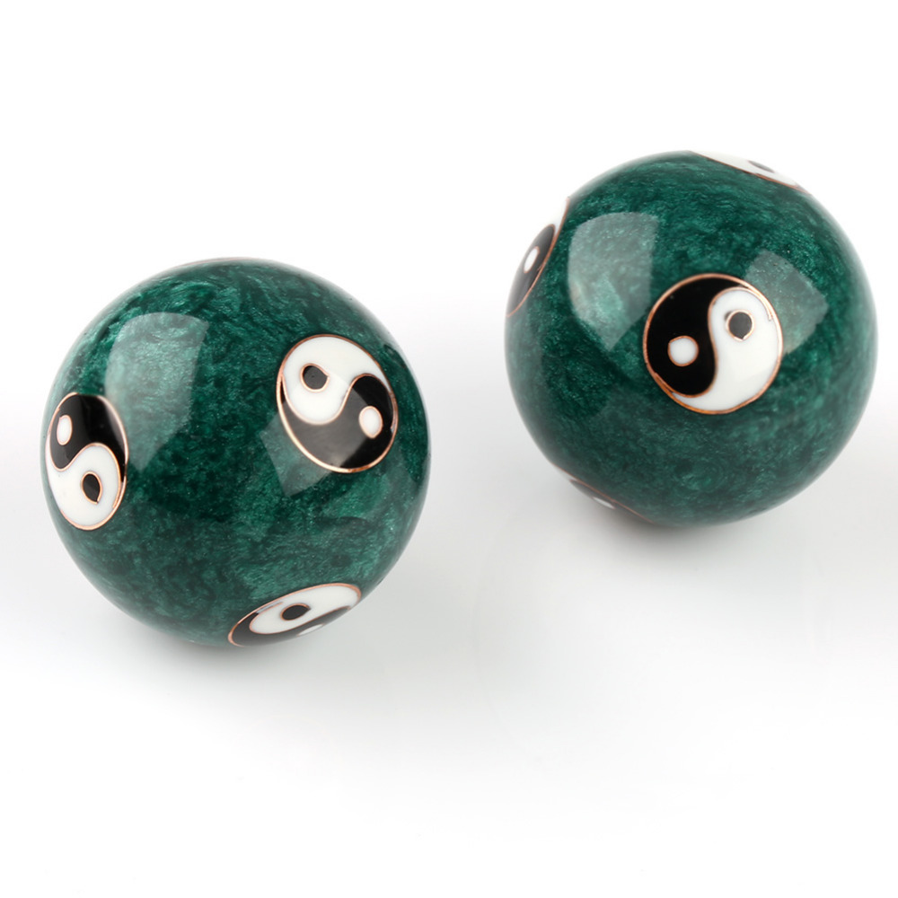 U.TECH NEW Chinese Health Exercise Baoding Balls 2pcs Stress Relief Chrome Green For Free Shipping