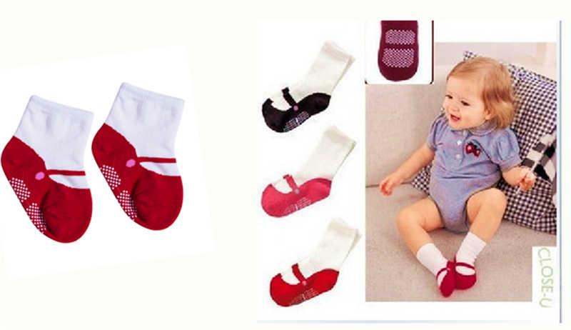 Antideslizante calcetines de bebé niños niño infantil de bebé de algodón de niña y niño calcetines 6-24 M 3 colores color disponible calcetines recién nacido condones