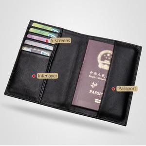 Image 4 - גברים באיכות גבוהה עור כבש אמיתי עור מזהה כרטיס דרכון כיסוי ארנק ארוג רב פונקצית כרטיס מחזיק עסקי נסיעות ארנק