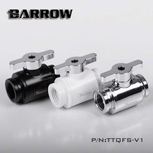 "Barrow water cooler MINI Valve Double Female Brass chrome handle Black/Silver/White G1/4"" Water Cooling heatsink gadget Fitting(China)"