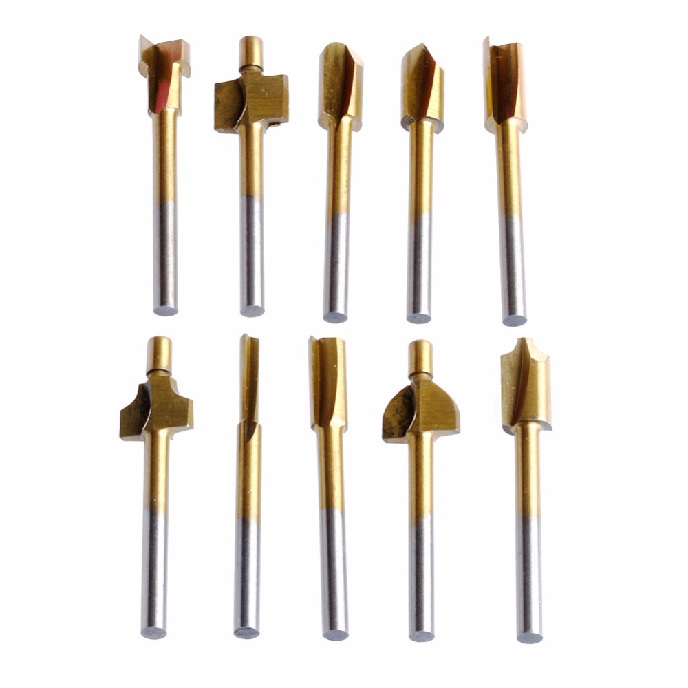 10Pcs/Set 3mm Titanium Mini Hss Router Bits Trimmer Shank For Dremel Rotary Tool New 2017 10pcs set brass drill chucks collet bits 0 5 3 2mm 4 3mm shank for dremel rotary tool