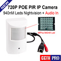 Mini Indoor 720P 1.0MP IP Camera With POE Camera HD PIR STYLE Invisible Leds NightVision 10m Audio In, P2P/Mobile View