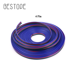 1M 5M 10M 20M 4 Pin Extension RGB + Black Wire Cable For 5050 2835 smd RGB LED Strip RGB Controller