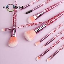 ESOREM 10pcs Soft Makeup Brushes Transparent Crystal Handle Cosmetic Brush Blush Larger Powder Tapered Blending Pincel Maquiagem