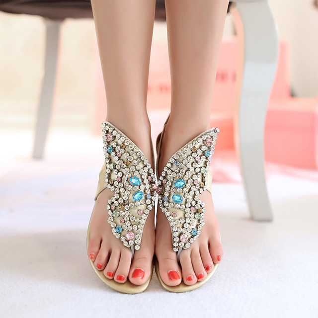 2016 New Arrival paillette Women's Bohemia Genuine Leather Sandals With Diamond Flat Heel Rhinestone Woman Clip Toe Shoes