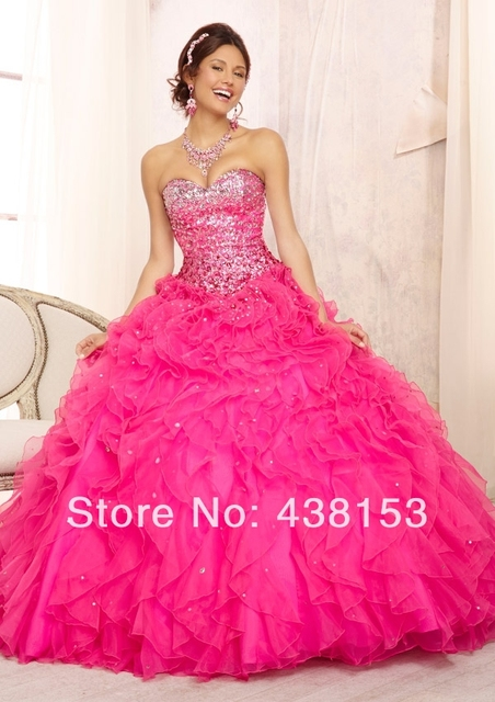 41aa7d3a30b Hot Sale Ball Gown Sweetheart Crystal Bodice Ruffle Organza Hot Pink  Quinceanera Dresses with Jacket vestido de debutante