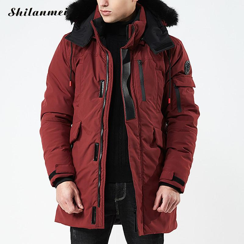 2018 Men   Parkas   Jackets Fur Hooded Coat Plus Size Winter Solid Army Green Long Jacket Men'S   Parka   Hombre Padded Thick Overcoat