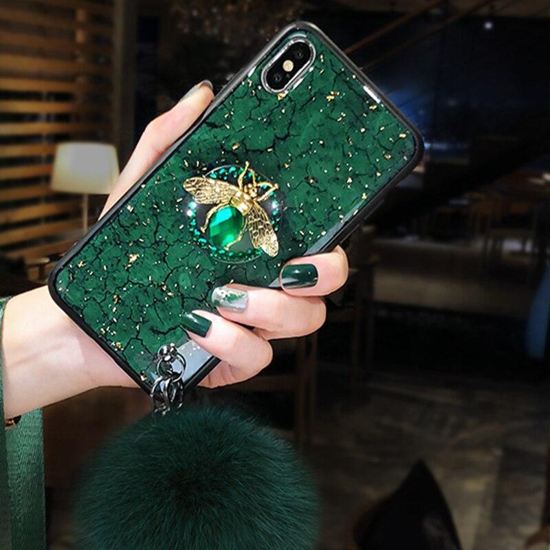 Luxury marble glitter diamond bee bracket silicone phone case for iphone X XR XS 11 pro Luxury marble glitter diamond bee bracket silicone phone case for iphone X XR XS 11 pro MAX 7 8 6S plus for samsung S8 S9 S10